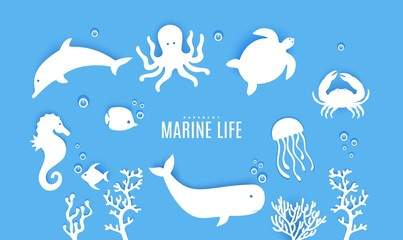 Set ot silhouette of marine life cut out of paper. Sea horse jumping dolphin whale crab, octopus, fish, algae, medusa, turtle. Collection papercut 3d element. Vector Ocean Day concept elements
