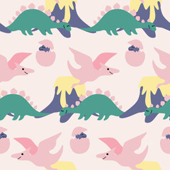 pink and green dinosaurs in a seamless pattern design