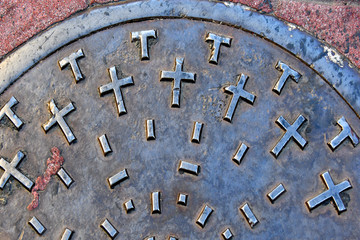 Manhole cover abstract