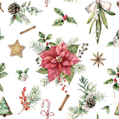 Watercolor Christmas floral seamless pattern. Hand painted holiday poinsettia, mistletoe, holly and bow isolated on white background. Winter illustration for design, print, fabric or background.