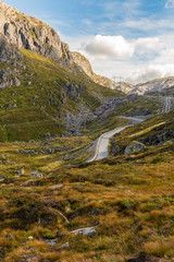 Road to Kjerag Kjeragbolten in amazing landscape in Norway.