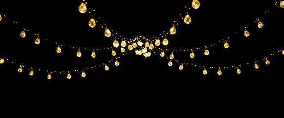 Christmas of wedding lights isolated on black background