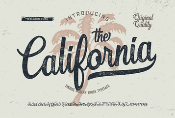 """California"". Vintage Brush Font. Retro Typeface. Vector Illustration."