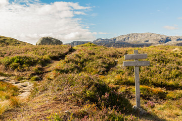 Sign on hiking trail to Kjerag Kjeragbolten in Rogaland, Norway.