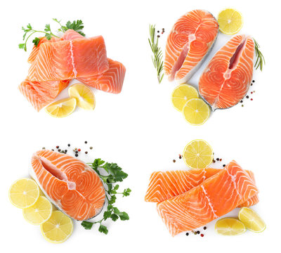 Set of fresh raw salmon on white background, top view. Fish delicacy