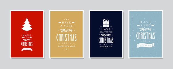 Wall Mural - Christmas calligraphy emblem greeting card set background