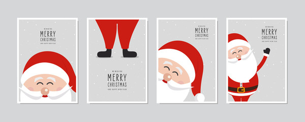 Cute santa claus close up card set. Merry christmas and Happy New Year greeting winter snowy background lettering vector. Christmas card set.