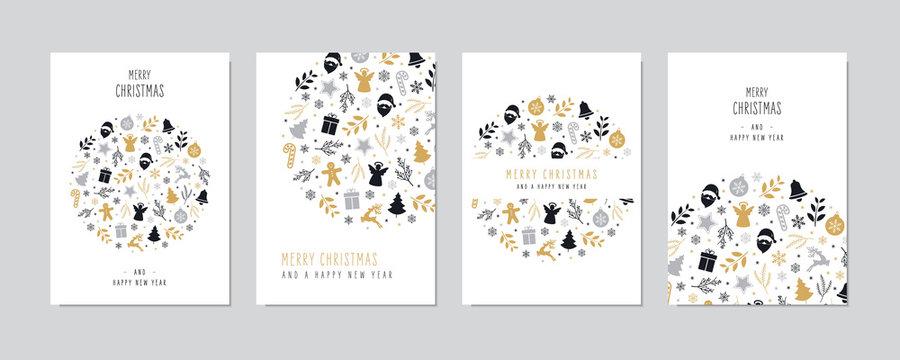 Christmas icons elements decoration greeting card set on white background