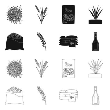 Vector illustration of crop and ecological sign. Set of crop and cooking stock symbol for web.