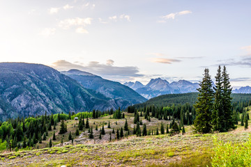 Landscape open view of green alpine San Juan mountains Silverton, Colorado in 2019 summer morning with meadow valley