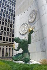 Detroit, July 26, 2019, Spirit of Detroit Sculpture or Statue in Downtown Detroit