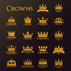 Golden crowns and stars, heraldic royal icons