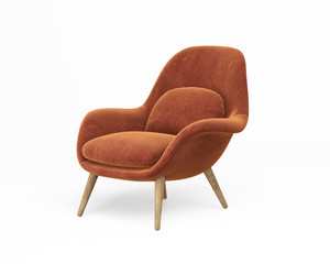 3d rendering of an Isolated orange modern lounge armchair