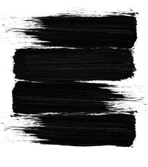 Sweeping black brush strokes isolated on white background. Print. Traces of the drawing with a black fleecy brush on a bright light backdrop.