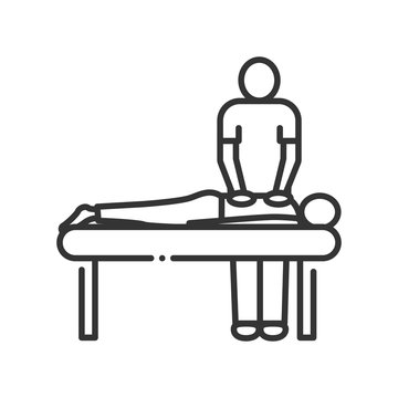 Massage procedure line color icon. Physiotherapy, acupuncture, rehabilitation concept. Health medical treatment. Sign for web page, mobile app, button, logo. Editable stroke.