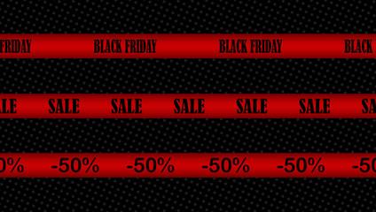 Vector set of seamless ribbons for Black Friday design