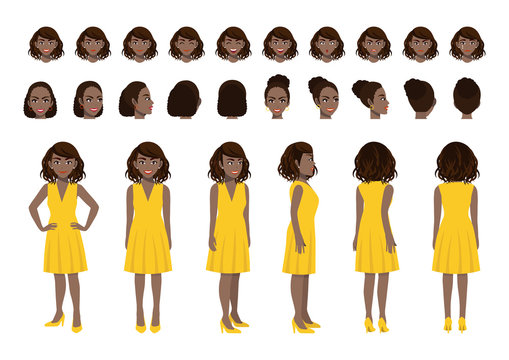 African American Businesswoman cartoon character head set and animation design. Front, side, back, 3-4 view animated character. Flat vector illustration.