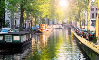 Canvas Prints Amsterdam One of canals in Amsterdam