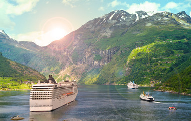 Canvas Prints Northern Europe cruise ship in norvegian fjord