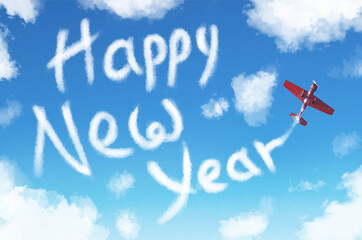 New Year 2020, a turboprop light engine aircraft draws numbers in the sky among clouds.