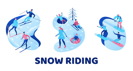 Snow riding illustration set, isometric people on snowboard, 3d winter vector sport man snowboarding, riding on mountain, skiing, tubing, sleigh, simple outdoor games, cartoon characters, ux design