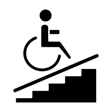 Wheelchair access glyph icon. Accessible to handicap people. Facilities for disabled persons. Wheelchair ramp sign. Apartment amenities. Silhouette symbol. Negative space. Vector isolated illustration