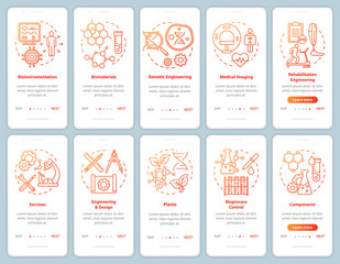 Bioengineering onboarding mobile app page screen vector template. Medical imaging, services. Walkthrough website steps with linear illustrations. Biomaterials. UX, UI, GUI smartphone interface concept