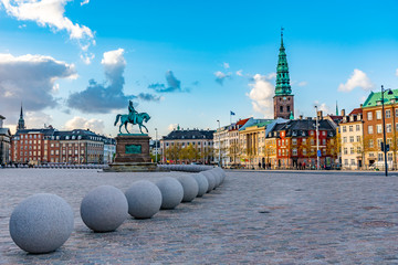 Statue of Frederik VII in front of Christiansborg palace at Copenhagen, Denmark