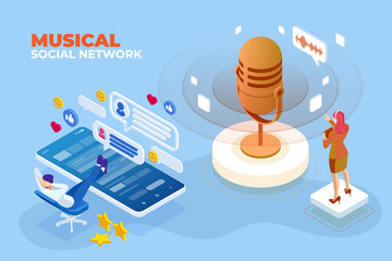 Isometric Musical social network and digital sound wave concept. Musical melody design. Soundwave audio music. Voice message or recording voice.