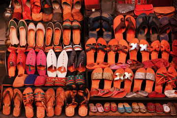 Colorful Shoes and Slippers at a Market in Marrakech Morocco