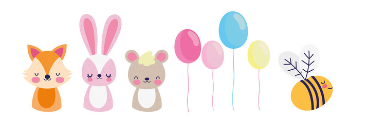 cute fox rabbit bear bee balloons decoration baby shower