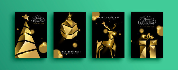 Wall Mural - Christmas New Year gold 3d low poly party card set