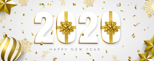 Wall Mural - 2020 New year banner gift holiday gold decoration