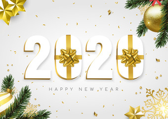 Wall Mural - 2020 New Year gold white gift box number card