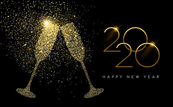 New Year 2020 gold glitter champagne toast card