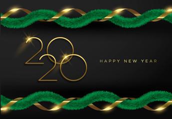 Wall Mural - 2020 New Year 3d holiday pine tree garland card