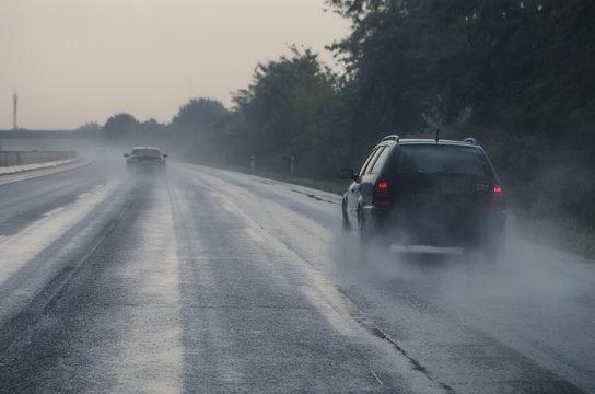 cars in dangerous slippery highway