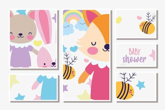 cute female fox rabbit and bear baby shower card