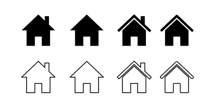 Set house icons. Isolated vector illustration.Silhouette symbol. Home page sign. Construction sign symbol. House linear icon set. Outline concept.