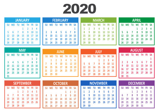 Colorful yearly calendar 2020. Week starts from Sunday. Vector illustration