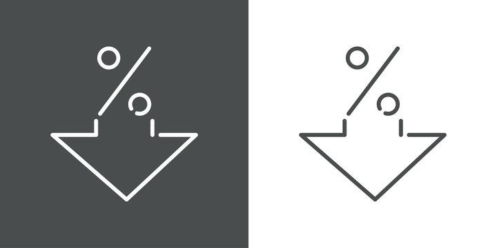 Icono plano lineal porcentaje con flecha hacia abajo en fondo gris y fondo blanco