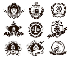 collection of black beer labels isolated on white background
