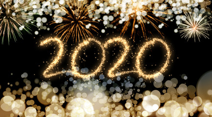 2020 New Year fireworks background