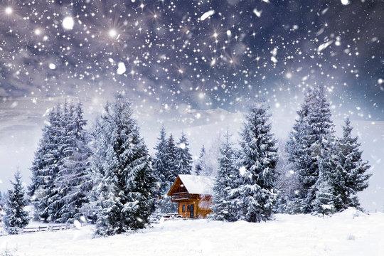 Wooden cottage in a fairy-tale winter landscape.