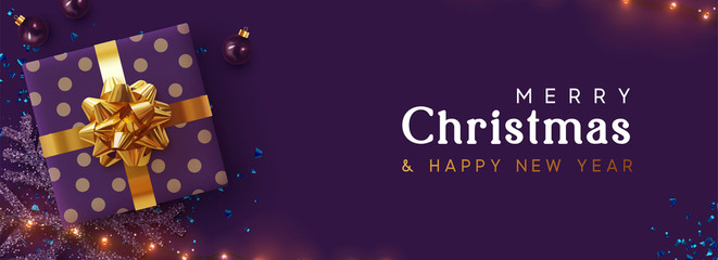 Fototapete - Holiday background Merry Christmas, Happy New Year. Xmas design with realistic festive objects, sparkling lights garland, purple gift box, lilac ball bauble, glitter violet confetti. Horizontal banner