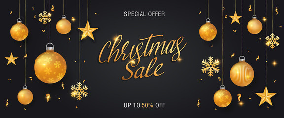Christmas sale black background banner or web header with glitter gold elements, snowflakes, stars and calligraphy