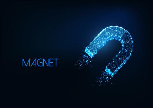 Futuristic glowing low polygonal horseshoe magnet symbol isolated on dark blue background.