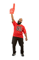 Fan: Excited Football Man With Foam Number One Finger