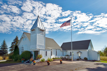 Rural Church with American Flag