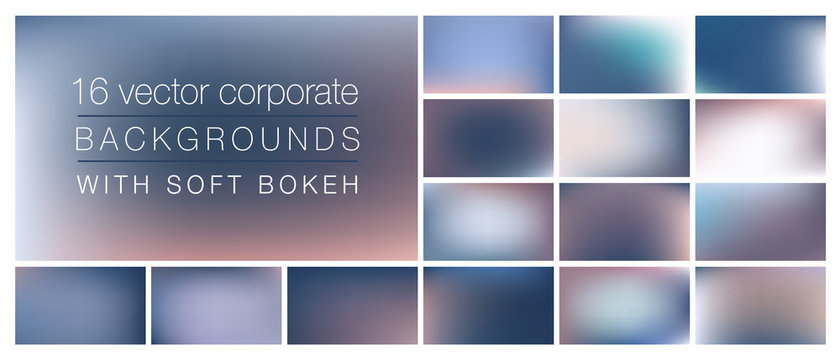 16 corporate backgrounds with soft bokeh and smooth blurry colors. Ideal background templates for using as backdrop in social media posts, emails, presentations with professional business look&feel.